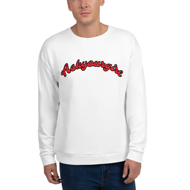 Askyourgirl Red Script White Sweatshirt