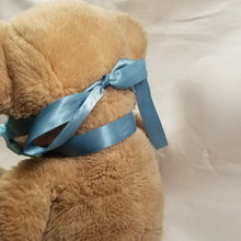 Load image into Gallery viewer, Soft satin ribbon goes around the back of the neck. The two tiable ends go over the ears (though not the bear's) and tie behind the head. It's one continuous piece of ribbon.