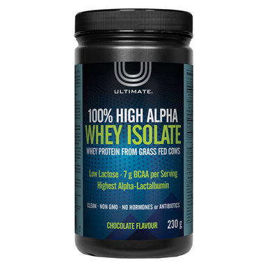 Bottle of Ultimate 100% High Alpha Whey Isolate Chocolate Flavour 230 Grams | Optimum Health Vitamins, Canada