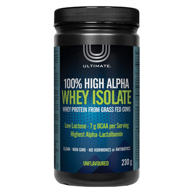 Bottle of Ultimate 100% High Alpha Whey Isolate Unflavoured 230 Grams | Optimum Health Vitamins, Canada