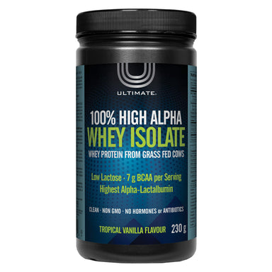 Bottle of Ultimate 100% High Alpha Whey Isolate Tropical Vanilla Flavour 230 Grams | Optimum Health Vitamins, Canada