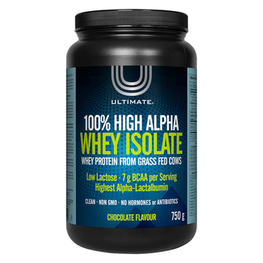 Bottle of Ultimate 100% High Alpha Whey Isolate Chocolate Flavour 750 Grams | Optimum Health Vitamins, Canada