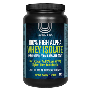 Bottle of Ultimate 100% High Alpha Whey Isolate Tropical Vanilla Flavour 750 Grams | Optimum Health Vitamins, Canada