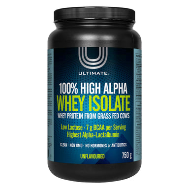 Bottle of Ultimate 100% High Alpha Whey Isolate Unflavoured 750 Grams | Optimum Health Vitamins, Canada