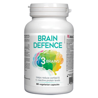 Bottle of 3 Brains Brain Defence 90 Vegetarian Capsules