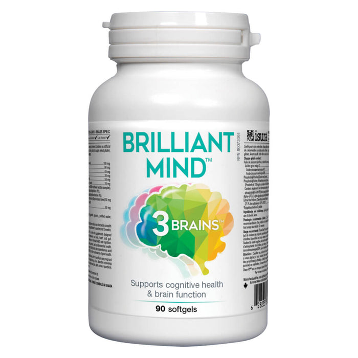 Bottle of 3 Brain Brilliant Mind 90 Softgels