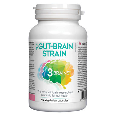 Bottle of 3 Brains The Gut-Brain Strain 60 Vegetarian Capsules