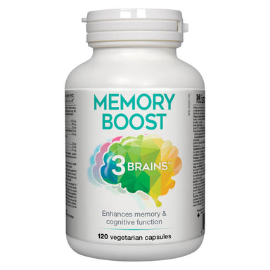 Bottle of 3 Brains Memory Boost 120 Vegetarian Capsules
