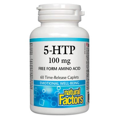 Bottle of Natural Factors 5-HTP 100 mg 60 Time-Released Caplets