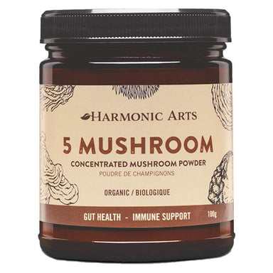 Jar of Harmonic Arts 5 Mushroom Concentrated Mushroom Powder 100 Grams