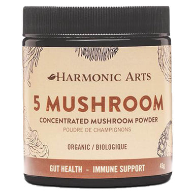 Jar of Harmonic Arts 5 Mushroom Concentrated Mushroom Powder 45 Grams