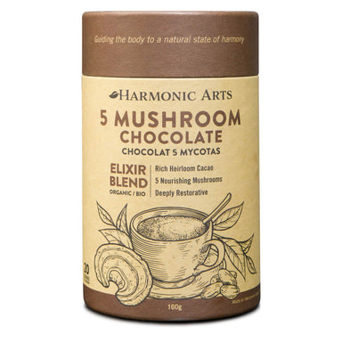 Container of 5 Mushroom Chocolate Elixir Blend 160 Grams