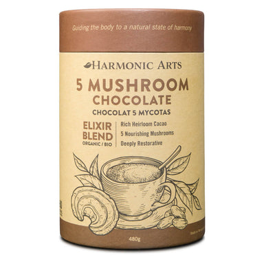 Container of 5 Mushroom Chocolate Elixir Blend 480 Grams