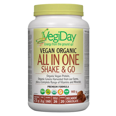 Container of Decadent Chocolate Organic All In One Shake & Go 900 Grams