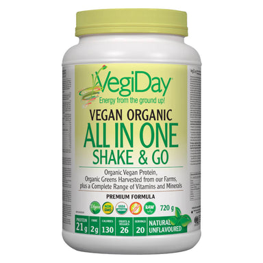 Container of Unflavoured Organic All In One Shake & Go 720 Grams