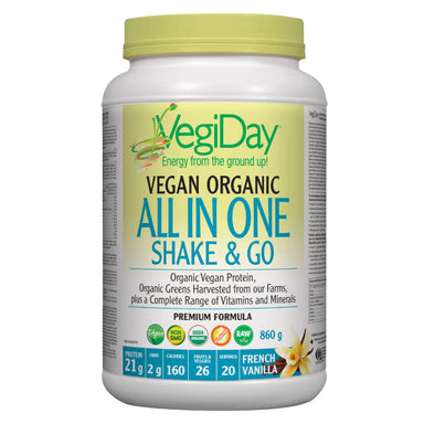 Container of French Vanilla Organic All In One Shake & Go 860 Grams