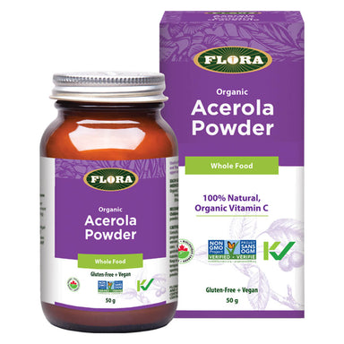 Box & Bottle of Organic Acerola Powder 50 Grams