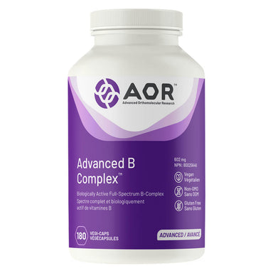 Bottle of AOR Advanced B Complex 602mg 180 Vegetable Capsules