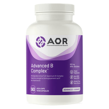 Bottle of AOR Advanced B Complex 602mg 90 Vegetable Capsules
