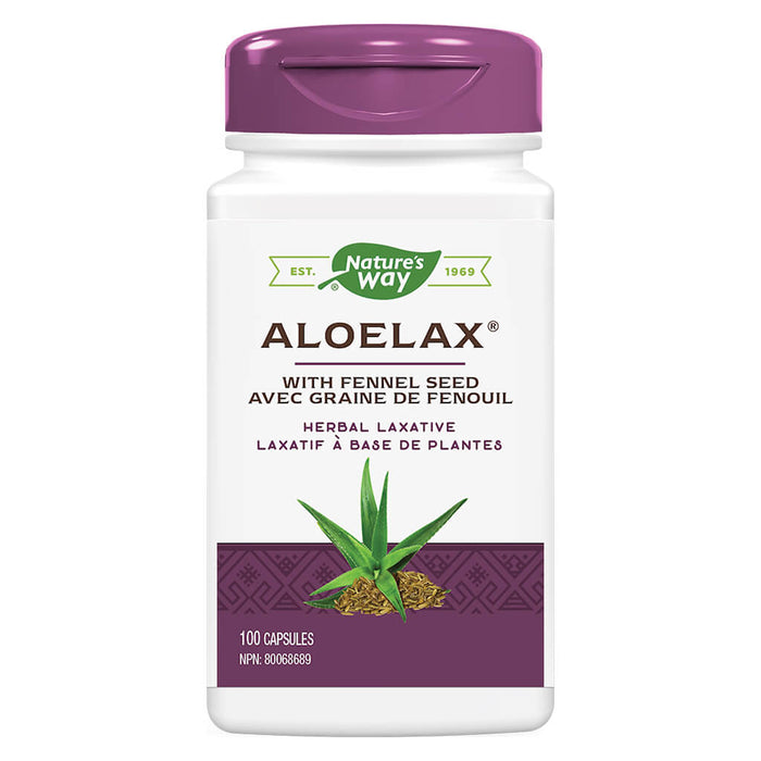 Bottle of Nature's Way Aloelax with Fennel Seed 100 Capsules