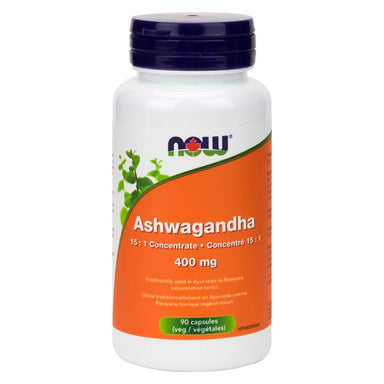 Bottle of NOW Foods Ashwagandha 400 mg 90 Vegetable Capsules