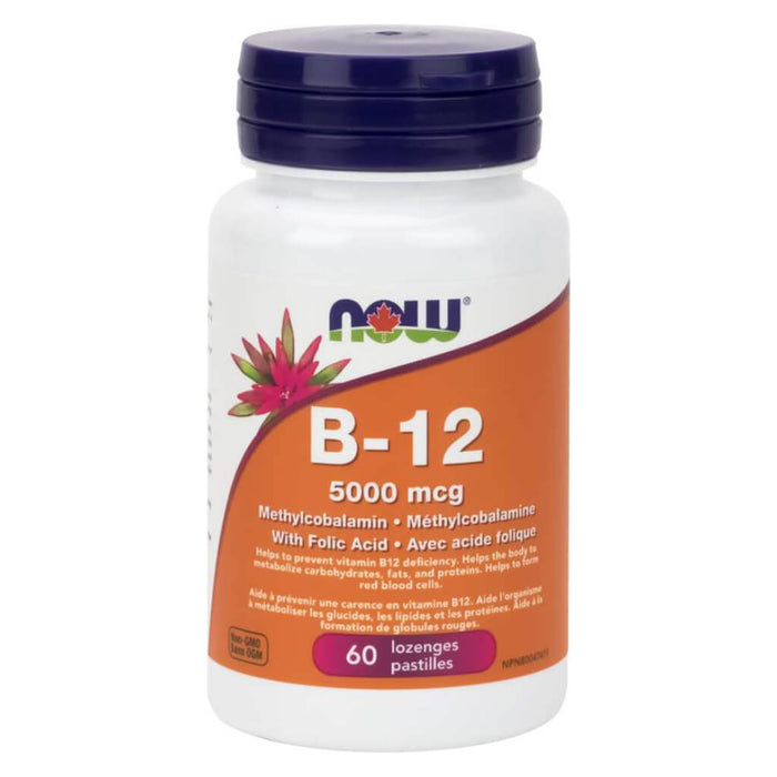 Bottle of B-12 Methylcobalamin w/ Folic Acid 60 Lozenges