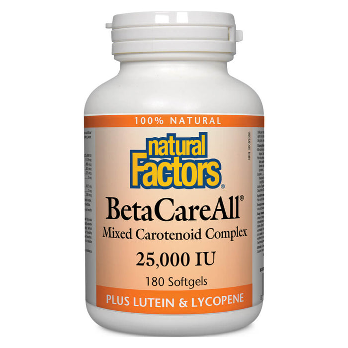 Bottle of Beta Care All Mixed Carotenoid Complex 25000 IU 180 Softgels