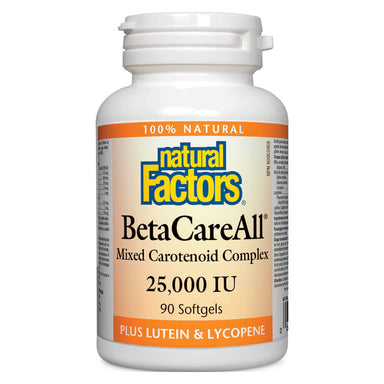 Bottle of Beta Care All Mixed Carotenoid Complex 25000 IU 90 Softgels