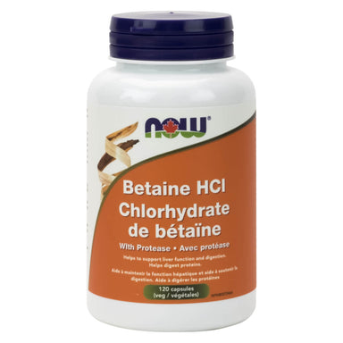 Bottle of Betaine HCl 648 mg w/ Protease 120 Vegetable Capsules