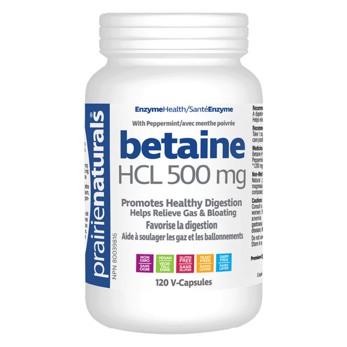 Bottle of Prairie Naturals Betaine HCL - 500 mg 120 V-Capsules