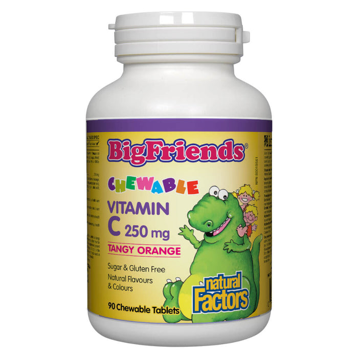 Bottle of Big Friends® Chewable Vitamin C 250 mg (Tangy Orange Flavour) 90 Chewable Tablets