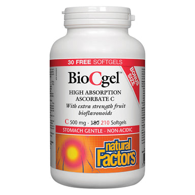 Bottle of Bio C Gel 500 mg 210 Softgels Bonus Bottle