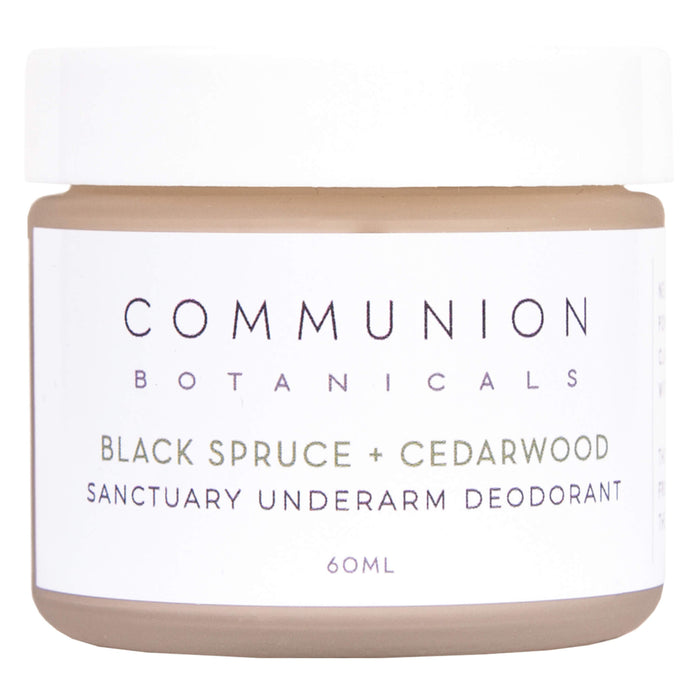 Jar of Communion Botanicals Black Spruce & Cedarwood Deodorant 60 Milliliters