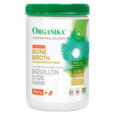 Container of Bone Broth Chicken Protein Powder Turmeric 300 Grams