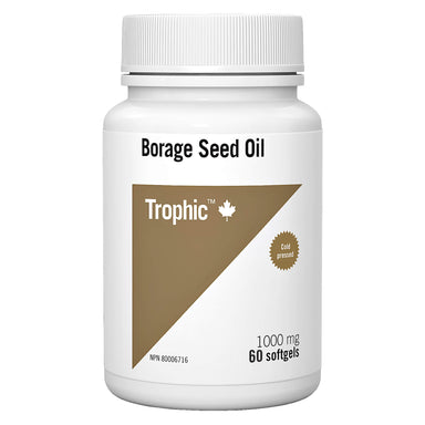 Bottle of Trophic Borage Seed Oil 1000 mg 60 Softgels