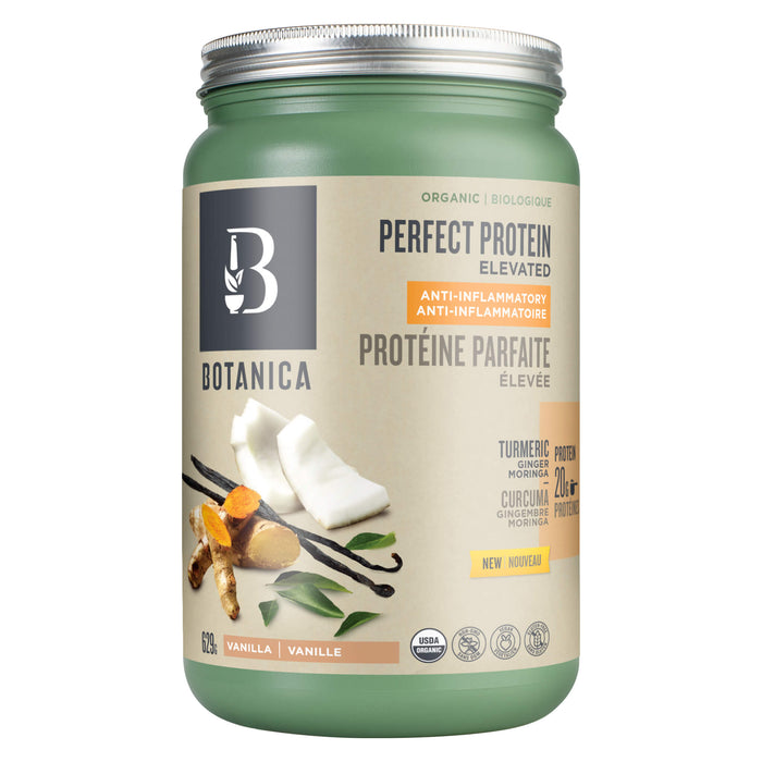 Container of Botanica Health Perfect Protein Elevated Anti-Inflammatory Vanilla 629 Grams