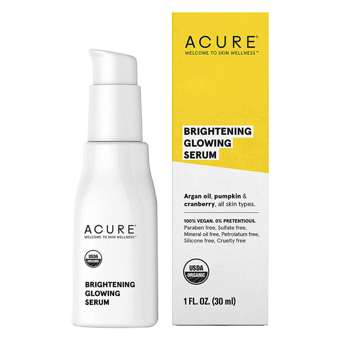 Pump Bottle and Box of Acure Brightening Glowing Serum 1.7 Fluid Ounces
