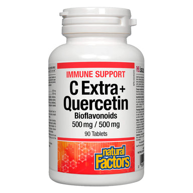 Bottle of Natural Factors C Extra + Quercetin Bioflavonoids 500 mg 90 Tablets