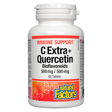 Bottle of Natural Factors Immune Support C Extra + Quercetin Bioflavonoids 500 mg 60 Tablets | Optimum Health Vitamins, Canada