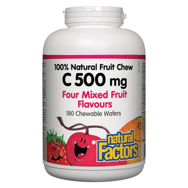 100% Natural Fruit Chew Vitamin C 500 mg Four Mixed Fruit Flavour 180 Chewable Tablets