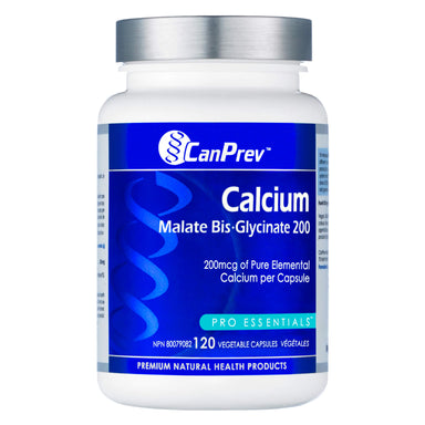 Bottle of CanPrev Calcium Malate Bis-Glycinate 200 mg 120 Vegetable Capsules