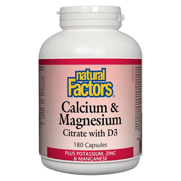 Bottle of Calcium & Magnesium Citrate w/ D3 180 Capsules