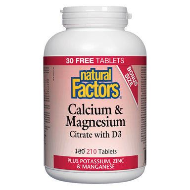 Bottle of Calcium & Magnesium Citrate w/ D3 210 Tablets Bonus Size