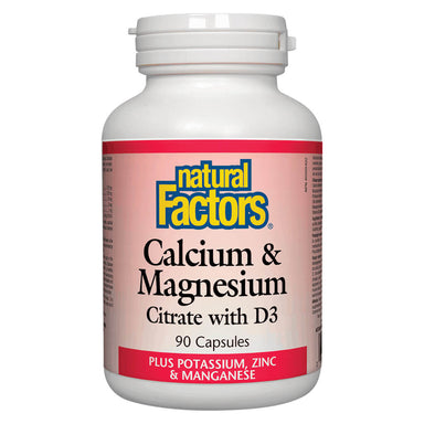 Bottle of Calcium & Magnesium Citrate w/ D3 90 Capsules