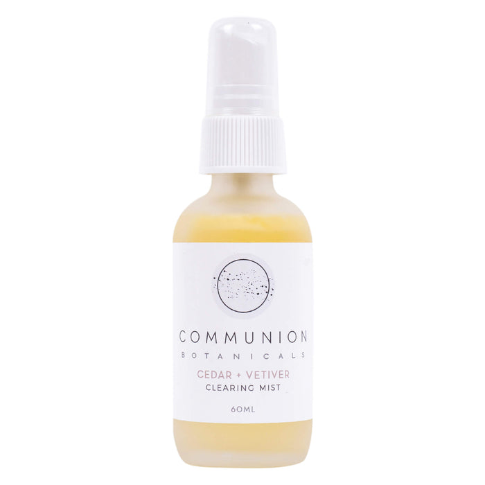 Spray Bottle of Communion Botanicals Cedar + Vetiver Clearing Mist 60 Milliliters