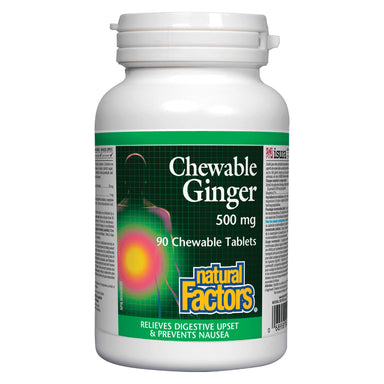 Bottle of Natural Factors Chewable Ginger 500 mg 90 Chewable Tablets