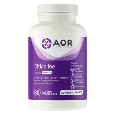 Bottle of AOR Citicoline with Cognizyn 264 mg 60 Capsules