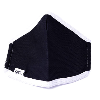 Civil 100% Polyester Triple Layer Reusable Civilian Face Mask, Youth Black/White