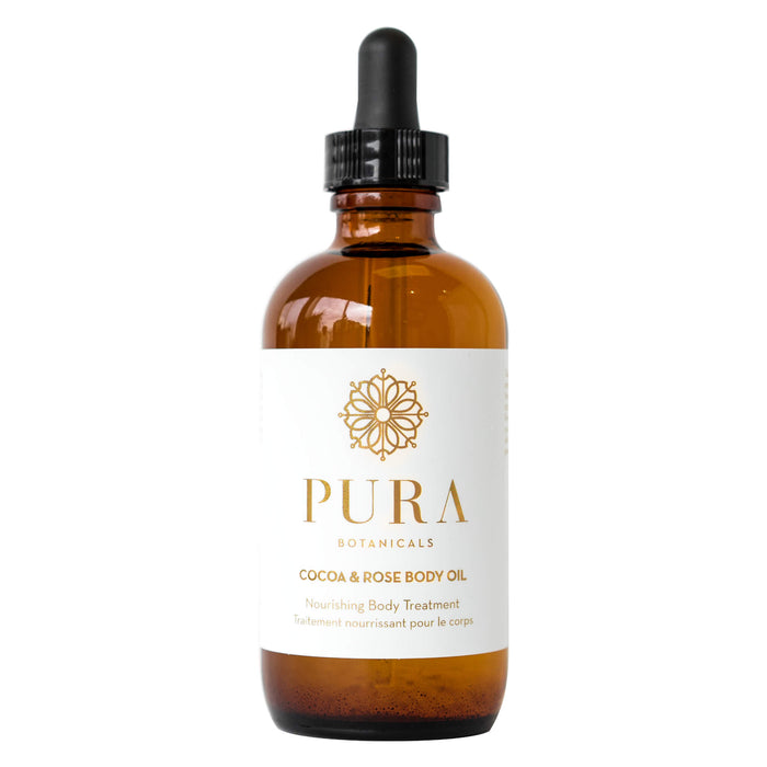 Dropper Bottle of Pura Botanicals Cocoa & Rose Body Oil 4 Ounces