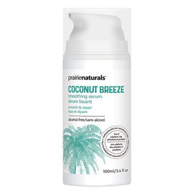 Pump Bottle of Prairie Naturals Coconut Breeze Smoothing Serum 100 Milliliters